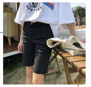 Designer Womens Summer Shorts Fashion Holes Regular Ladies Knee Length Shorts Donna Zipper Fly Short Pants