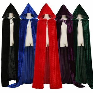 Halloween Unisex com capuz Velvet Cloak Robe Cape Medieval Halloween Witchcraft Cape Cosplay