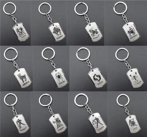 Edelstahl Astrologie Sternzeichen Hund Tag Keychain Konstellation Horoskope Schlüsselanhänger Geburtstagsgeschenk Schlüsselanhänger 12 Teile/Los Sortiert
