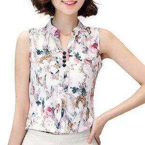 Damenmode Hot Top Sommer Bluse V-Ausschnitt Sleeveless Butterfly Print Lässige Chiffon Leinen Lady Blusas Shirts Tops