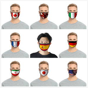 Reusable Antidust Face Mask American United Kingdom Germany Canada Flag 3D Printing Mask Washable Adjustable Protective Mask