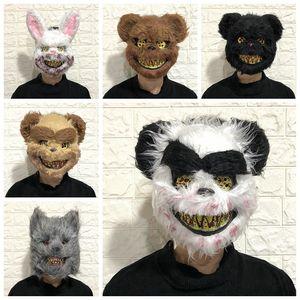 De Halloween máscara de sangre de conejo asesino de la máscara de oso de peluche de felpa de Halloween Cosplay Máscara del horror por adultos de los niños Wild Wolf miedo máscaras de DBC VT0945