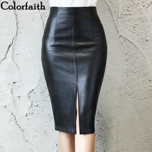 Colorfaith 2019 femmes Pu cuir Jupe mi-longue Automne Hiver Mesdames Forfait hanche avant ou arrière Slit Jupe crayon Taille Plus T200319