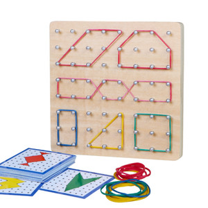 Montessori Toys Kids Creative Graphics Rubber Tie Nail Boards Children Educational Wooden Toys Preschool Brinquedos Juguetes T200622