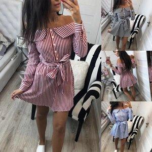 Womens Designer de Vestidos de Verão Fora Do Ombro Das Mulheres Mini Vestido Camisa Stripe Imprimir Outono Casual Vestido Strapless Belt Botão de Manga Longa