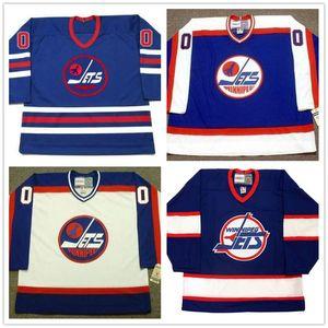 Personalizado Jersey # 10 Dale Hawerchuk # 13 Teemu Selanne Winnipeg Jets 1970 WHA Vintage Hóquei no Gelo Jerseys costurado qualquer nome Seu Número Azul