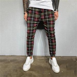 Stampa il progettista del mens Pantaloni Moda Tasche con pannelli Mens pantaloni correnti casuali Maschi Abbigliamento 3D Digital Plaid