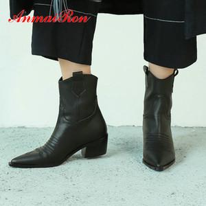ANMAIRON 2020 cuero auténtico punta estrecha Botas de cuero de las mujeres de moda botas de invierno básico de Spike tobillo de los talones de las mujeres postal