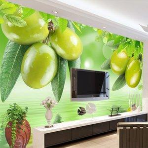 Personalizzato 3D Photo Wallpaper Murales Green Fruit Modern Living Room Divano TV Sfondo Decorazione della parete Pittura impermeabile Wall Sticker