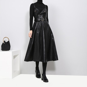 Spring autumn Slip Dress women's fashion chic slim-fit PU leather beam waist skirt fine sling A-line skirt Tunic