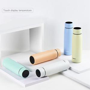 EU Stock 380ml inteligente Caneca Display de temperatura vácuo garrafa de água de aço inoxidável Chaleira Thermo Cup Com LCD Touch Screen presente do copo FY4137