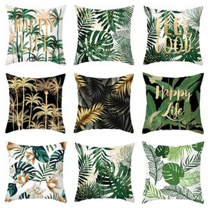 green plants summer home decor leaf leaves cushion cover polyester cojines palm throw pillow case for sofa chaise