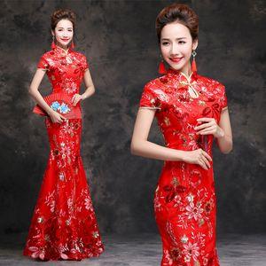 Red Mermaid cheongsam lungo tradizionale cinese qipao abito da sera orientale partito Abiti da sposa ricamo paillettes Robe