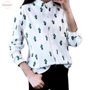 Girls Women Casual Long Sleeve T Shirts Long Sweet Cute Cactus Printed Mandarin Collar Tops White Drop Shipping