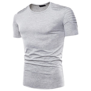 Tops Pure Mens Cor Designer Tshirts plissadas Mens Casual Tees Roupa Manga Curta Masculino Verão Hommes
