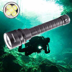 22000lums Tocha De Mergulho 5 * T6 Underwater Scuba Dive Underwater 220 m Profundidade À Prova D 'Água Levou luz lanterna s