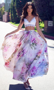 Summer Skirt Pleated Blossoming Floral Chiffon New 2019 Floral Print Plus Size Women clothes Elastic Waist Beach Wear 4 Styles S-XL