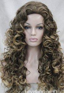 PERUK Sıcak isıya dayanıklı Parti hairFashion Kahverengi Sarışın Mix Uzun Spiral Bukleler Kadınlar Bayanlar Günlük peruk