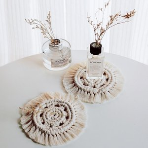 Macrame Cup Pads Handmade Bohemia Cotton Hand Knotted Tablecloth Table Mat for Wedding Party Decorations Home Decor 4 Styles