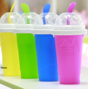 Easy DIY Smoothie Cup With Straw Magic Smoothie Maker Travel Camp Portable Silicone Smoothie Cup Sand Ice Cream Slush Maker KKA7843