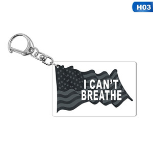 13style I can't Breathe KeyChain Letter Print Floyd Key Ring USA Fashion Acrylic Car Key Chain Pendant Jewelry Gifts GGA3449-3