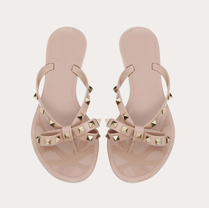 with box nude rivets bowtie PVC flat slipper designer slides women designer sandals jelly shoes