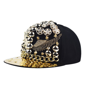 الاتجاه الجديد 2020 المعادن الثقيلة الذهب طائر الفينيق برشام الهيب هوب قبعة الجمجمة لون الماس قبعة الحواف المسطحة