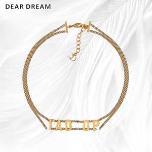 Monili della collana di coppie di torsione doppia banda Girocollo bronzo dell'annata di modo Alfabeto Oro regalo per le donne Grils