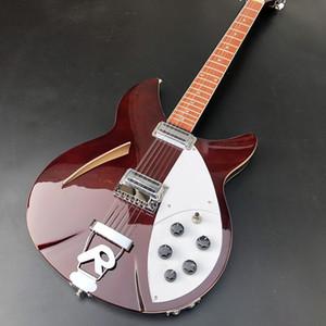Высококачественный 12-струнные 360 электрическая гитары с двумя выходами, из красного дерева грифом, лак, блеск бордовых красок, хромированные аппаратных средствами, F