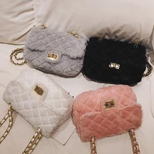 Women Shoulder Bags Female Party Crossbody Chain Bag Plaid Handbag Quilted Sac A Main Femme Women Artificial Plush Handbags