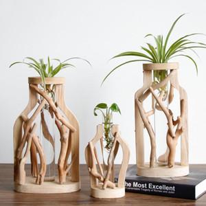 Handwork pura madeira vaso decorado vaso de flores de madeira sólida para Floral Vidro criativa hidropônico Container Início vaso decorativo