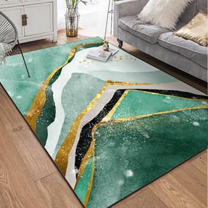 Green Marble Muster Teppiche Vorleger Geometric goldenen gestreiften Schlafzimmer Wohnzimmer Wohnzimmer Tapete Wohnkultur Griffige Bodenmatten