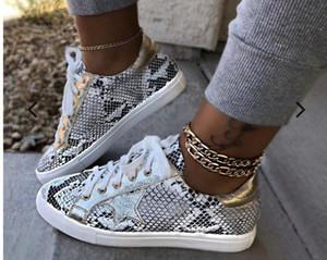 Donne PU stampa serpente scarpe di cuoio Lace up Female Sneakers Moda 2019 Nuovo donna della piattaforma Scarpe calzature ambulanti
