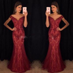 Modest Wine Red Dresses de noche Mermaid Off-Shoulder Lace Borgoña de encaje Vestido de fiesta vestidos de fiesta para celebridades Ropa formal