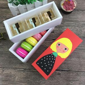 Chriatmas Hollow Macaron contenitore di bigné contenitore di San Valentino al cioccolato imballaggio cottura pacchetto Macaron imballaggio di carta torta Scatole 17.5 * 5 * 6cm LX8772