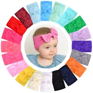 1PCS New Cotton Solid Baby Headband For Cute Girls Kid Wide Bow Knot Turban Elastic Hairbands Handmade Headwear Hair Accessories