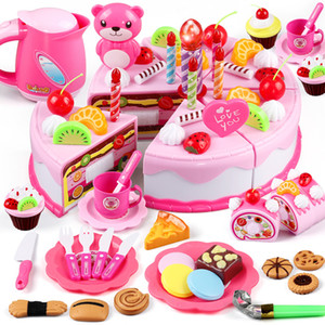 37-80Pcs DIY Pretend Play Fruit Cutting Birthday Cake Kitchen Food Toys Cocina De Juguete Toy Pink Blue Girls Gift for Children