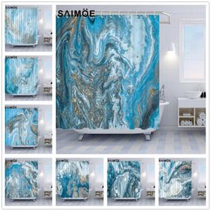 Elegante Marble Texture Tende da doccia Blue Sea Riga astratta Struttura Bagno Doccia tenda della decorazione dorata di lusso polvere da bagno Curtain