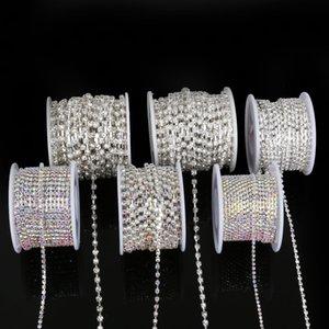 Nähen auf Rhinestone-Kette SS6-SS18 Silber mit Metallverzierung Braut Applikationen Strass DIY Bekleidung Zubehör 10yard / roll