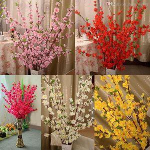 65cm uzunluğunda Yapay Kiraz Bahar Erik Şeftali Çiçeği Şube İpek Çiçek Ağacı İçin Düğün Parti Dekorasyon malzemeleri