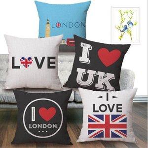 Respetuoso del medio ambiente del Reino Unido Amor de algodón de lino fundas de almohada Lanzo fundas de almohada Funda de almohada Reino Unido Bandera impresa de fundas de cojines 18 * 18 pulgadas