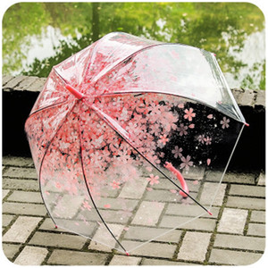 Transparent Creative Cherry Blossoms Umbrella longue poignée Cartoon clair résistance au vent Mignon Parapluies Accueil Mêle Filles cadeau 9yz H1