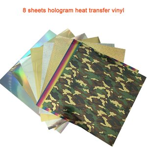 Free shipping 8 sheets 25cmx25cm hologram Heat Transfer Vinyl Heat Press Machine T-shirt Iron On HTV Printing