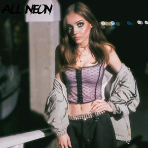 ALLNeon Mesh-Crop Tops-Quadrat-Kragen ärmel Einreiher Vorder Tanks Tops Vintage-E Mädchen geerntete Y2K Outfit Mujer