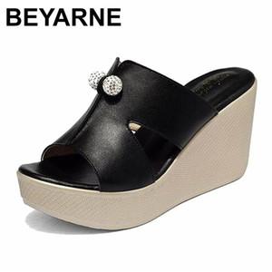 BEYARNE 2020 Nouveau été véritable Sandales en cuir Platform Wedges Femmes Mode Femme Talons Chaussures d'été Taille 35-43E277