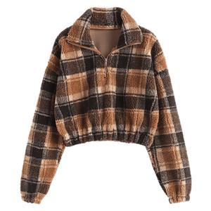 가을 겨울 양털 가짜 모피 격자 무늬 후드 여성 지퍼 느슨한 캐주얼 스웨터 여성이 두꺼워 따뜻한 부드러운 봉제 풀오버