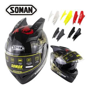 Soman Full-Face-Motorradhelm mit Helmzubehör Horn Flip-Up Motorrad Reiten Casco Double Lens Motocross Cycling Casque SM960