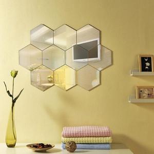 Виниловая стикер Главная 3D DIY DIY Hexagon Decor Стена Съемный 12шт Зеркало Искусство 8 * 8 см