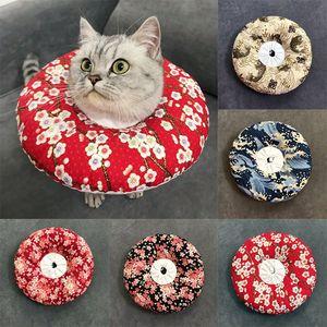 Estilo japonés collar isabelino, ajustable Collar de algodón de cuello suave para mascotas Cono E-collar para perros y gatos