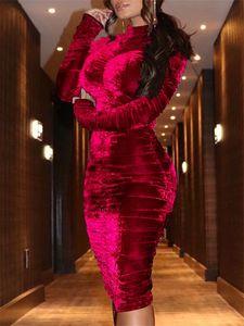 Maniche lunghe Fashion Dress Womens Party Dress Zipper lusso progettista femminile abito colore solido